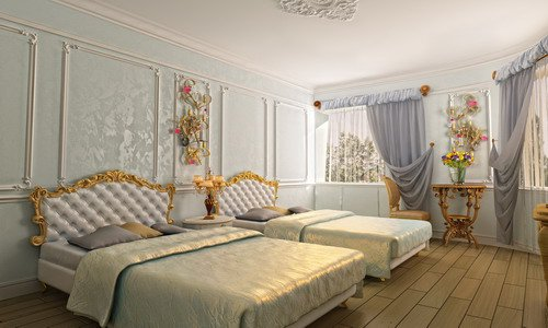 Молдинги из полиуретана в интерьере спальни фото